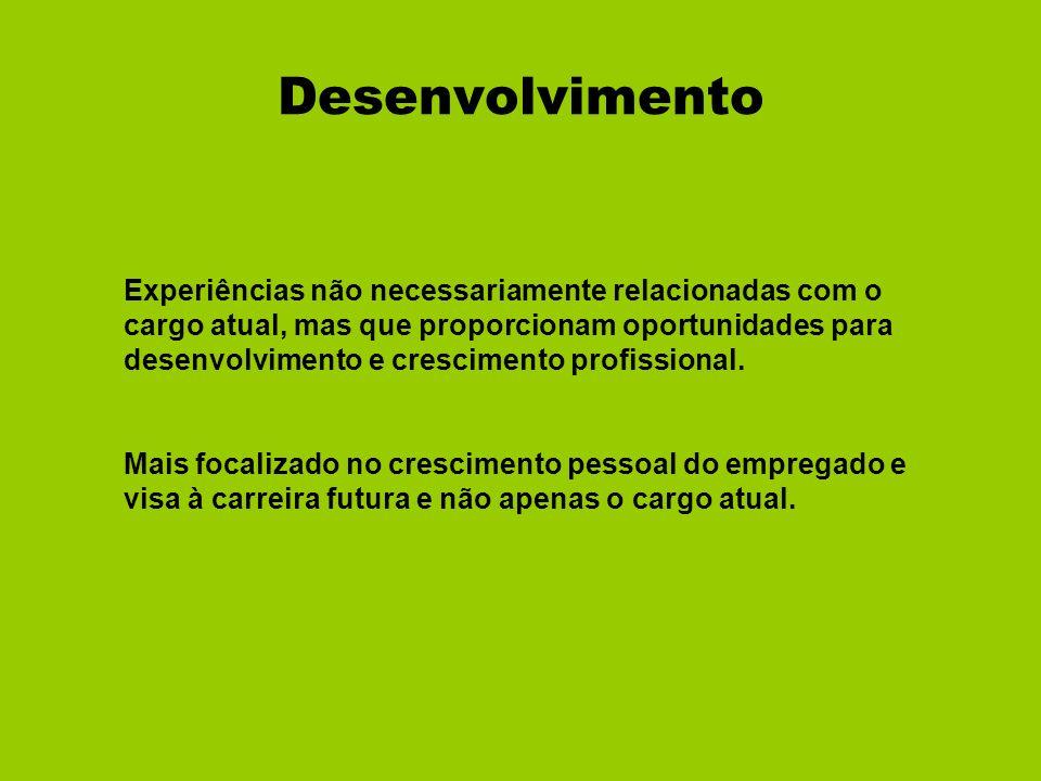 Desenvolvimento Experiências não necessariamente relacionadas com o cargo atual, mas que proporcionam oportunidades para desenvolvimento e crescimento