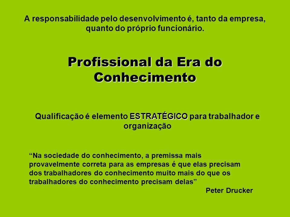 A responsabilidade pelo desenvolvimento é, tanto da empresa, quanto do próprio funcionário. Profissional da Era do Conhecimento ESTRATÉGICO Qualificaç
