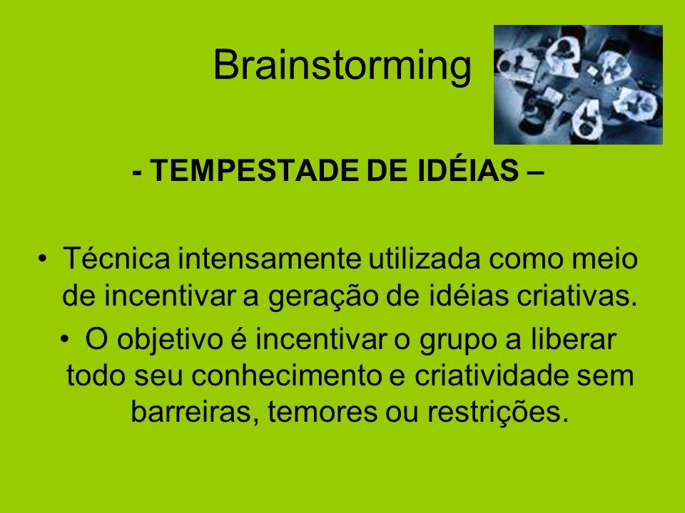 Brainstorming - TEMPESTADE DE IDÉIAS – Técnica intensamente utilizada como meio de incentivar a geração de idéias criativas. O objetivo é incentivar o