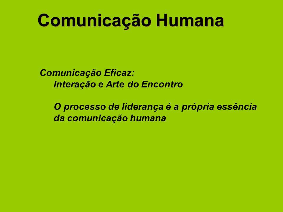 Comunicação Humana Comunicação Eficaz: Interação e Arte do Encontro O processo de liderança é a própria essência da comunicação humana