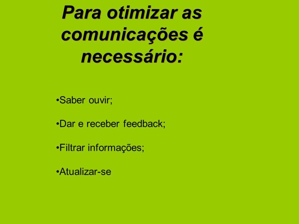 Para otimizar as comunicações é necessário: Saber ouvir; Dar e receber feedback; Filtrar informações; Atualizar-se