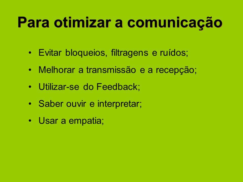 Para otimizar a comunicação Evitar bloqueios, filtragens e ruídos; Melhorar a transmissão e a recepção; Utilizar-se do Feedback; Saber ouvir e interpr