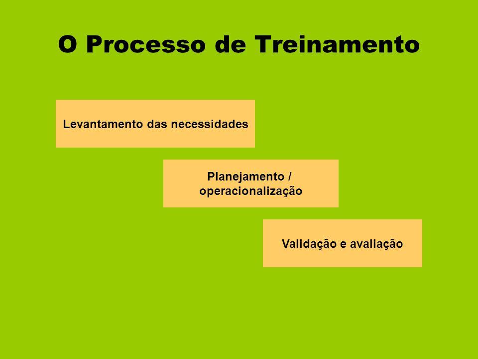 O Processo de Treinamento Levantamento das necessidades Planejamento / operacionalização Validação e avaliação