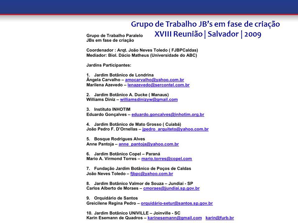 Grupo de Trabalho JBs em fase de criação XVIII Reunião | Salvador | 2009