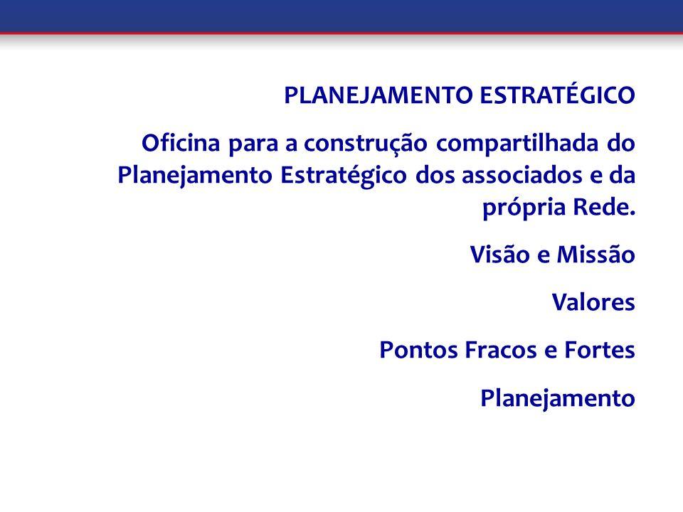 PLANEJAMENTO ESTRATÉGICO Oficina para a construção compartilhada do Planejamento Estratégico dos associados e da própria Rede. Visão e Missão Valores