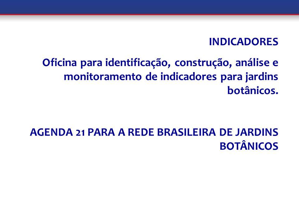 INDICADORES Oficina para identificação, construção, análise e monitoramento de indicadores para jardins botânicos. AGENDA 21 PARA A REDE BRASILEIRA DE