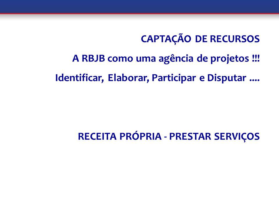 CAPTAÇÃO DE RECURSOS A RBJB como uma agência de projetos !!! Identificar, Elaborar, Participar e Disputar.... RECEITA PRÓPRIA - PRESTAR SERVIÇOS