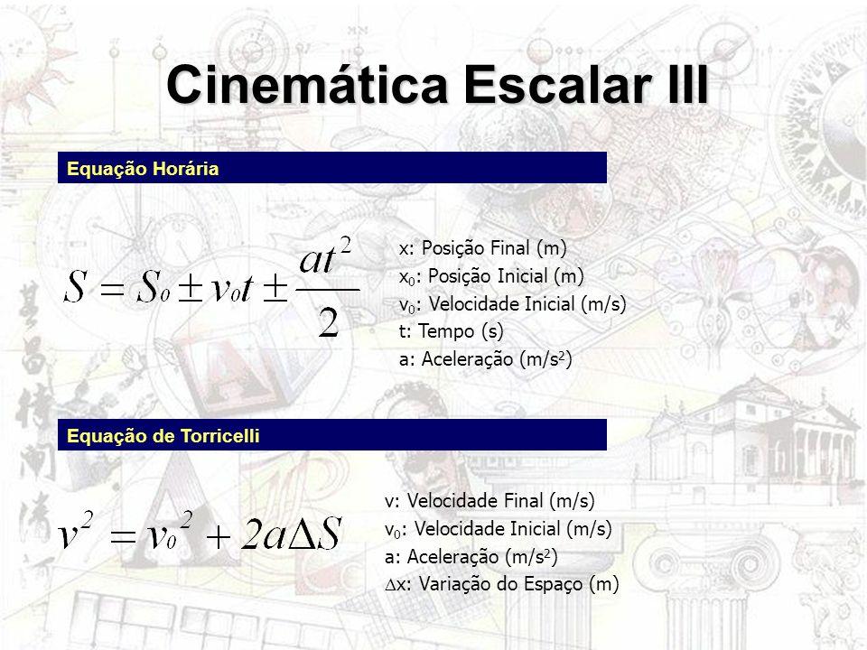 Cinemática Escalar III Equação Horária Equação de Torricelli x: Posição Final (m) x 0 : Posição Inicial (m) v 0 : Velocidade Inicial (m/s) t: Tempo (s
