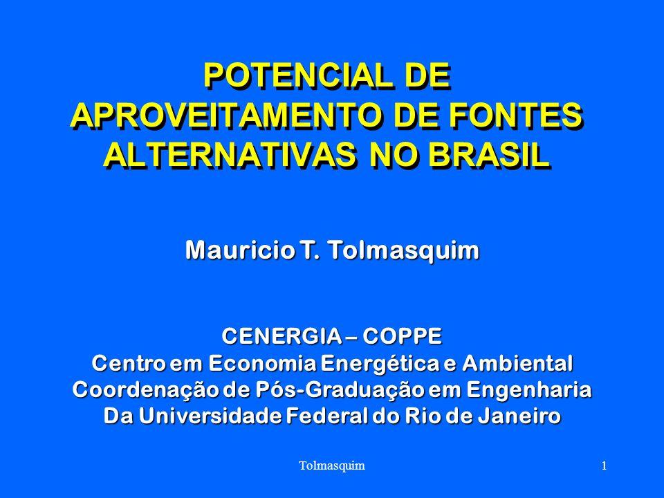 Tolmasquim1 POTENCIAL DE APROVEITAMENTO DE FONTES ALTERNATIVAS NO BRASIL Mauricio T. Tolmasquim CENERGIA – COPPE Centro em Economia Energética e Ambie