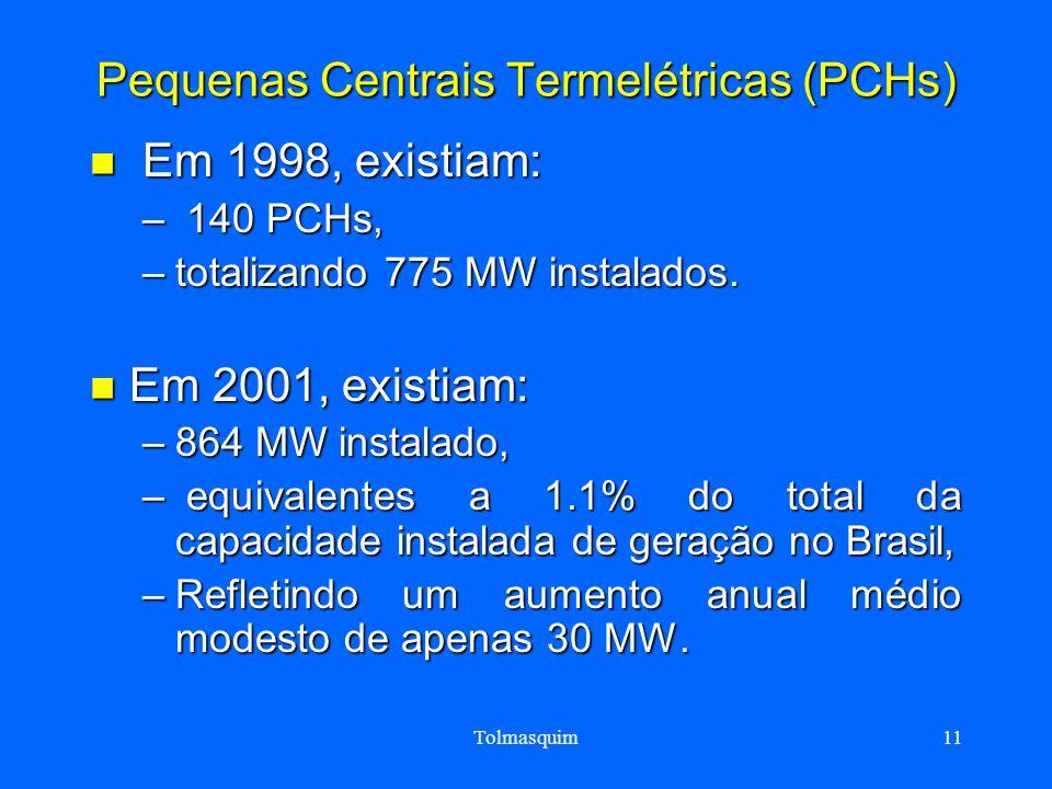Tolmasquim11 Pequenas Centrais Termelétricas (PCHs) Em 1998, existiam: Em 1998, existiam: – 140 PCHs, –totalizando 775 MW instalados. Em 2001, existia