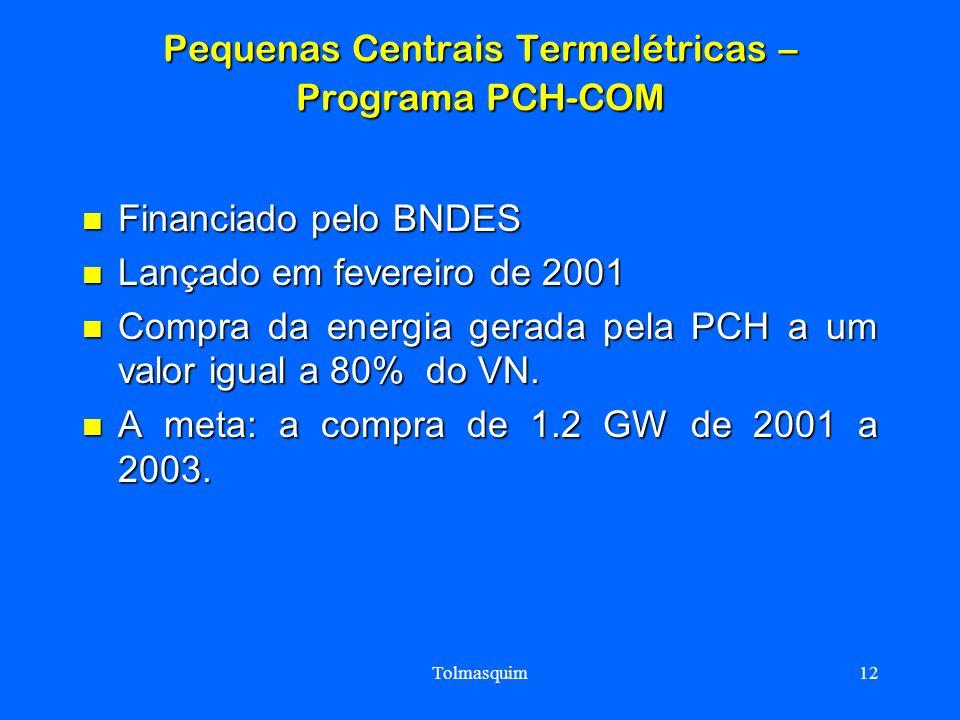 Tolmasquim12 Pequenas Centrais Termelétricas – Programa PCH-COM Financiado pelo BNDES Financiado pelo BNDES Lançado em fevereiro de 2001 Lançado em fe