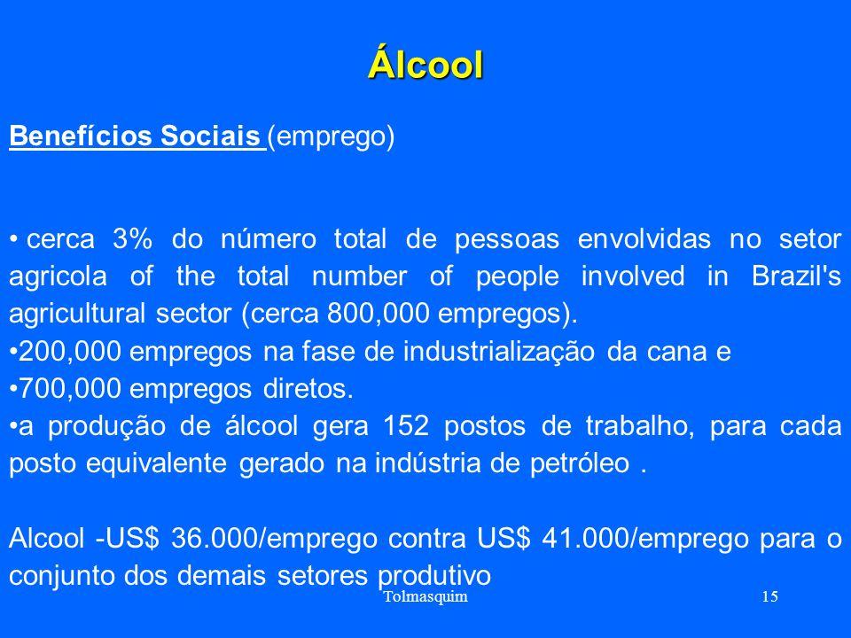 Tolmasquim15 Álcool Benefícios Sociais (emprego) cerca 3% do número total de pessoas envolvidas no setor agricola of the total number of people involv