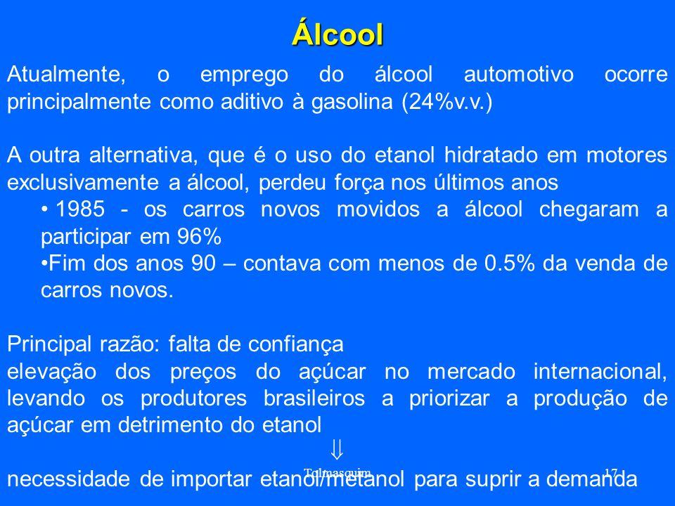 Tolmasquim17Álcool Atualmente, o emprego do álcool automotivo ocorre principalmente como aditivo à gasolina (24%v.v.) A outra alternativa, que é o uso