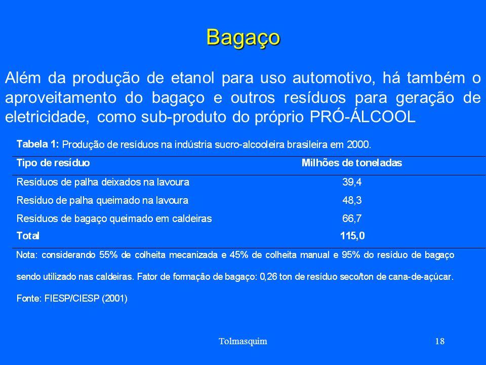Tolmasquim18 Bagaço Além da produção de etanol para uso automotivo, há também o aproveitamento do bagaço e outros resíduos para geração de eletricidad