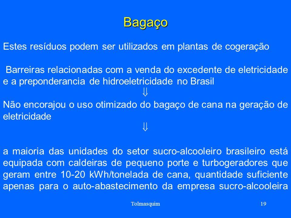 Tolmasquim19 Bagaço Estes resíduos podem ser utilizados em plantas de cogeração Barreiras relacionadas com a venda do excedente de eletricidade e a pr