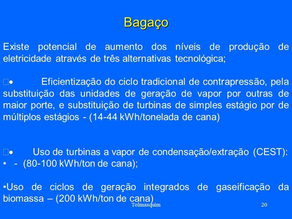 Tolmasquim20 Bagaço Existe potencial de aumento dos níveis de produção de eletricidade através de três alternativas tecnológica; Eficientização do cic
