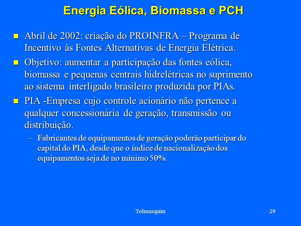 Tolmasquim29 Energia Eólica, Biomassa e PCH Energia Eólica, Biomassa e PCH Abril de 2002: criação do PROINFRA – Programa de Incentivo às Fontes Altern