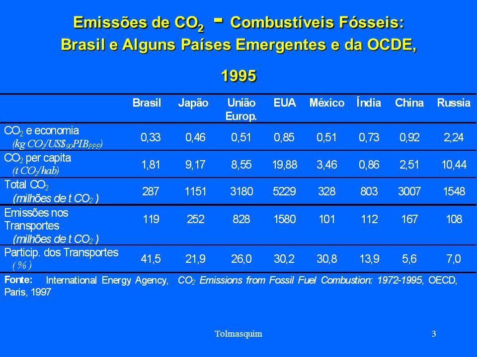 Tolmasquim3 Emissões de CO 2 - Combustíveis Fósseis: Brasil e Alguns Países Emergentes e da OCDE, 1995