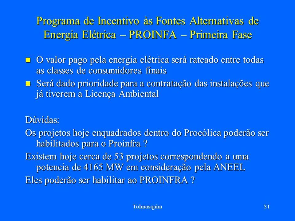 Tolmasquim31 Programa de Incentivo às Fontes Alternativas de Energia Elétrica – PROINFA – Primeira Fase O valor pago pela energia elétrica será ratead