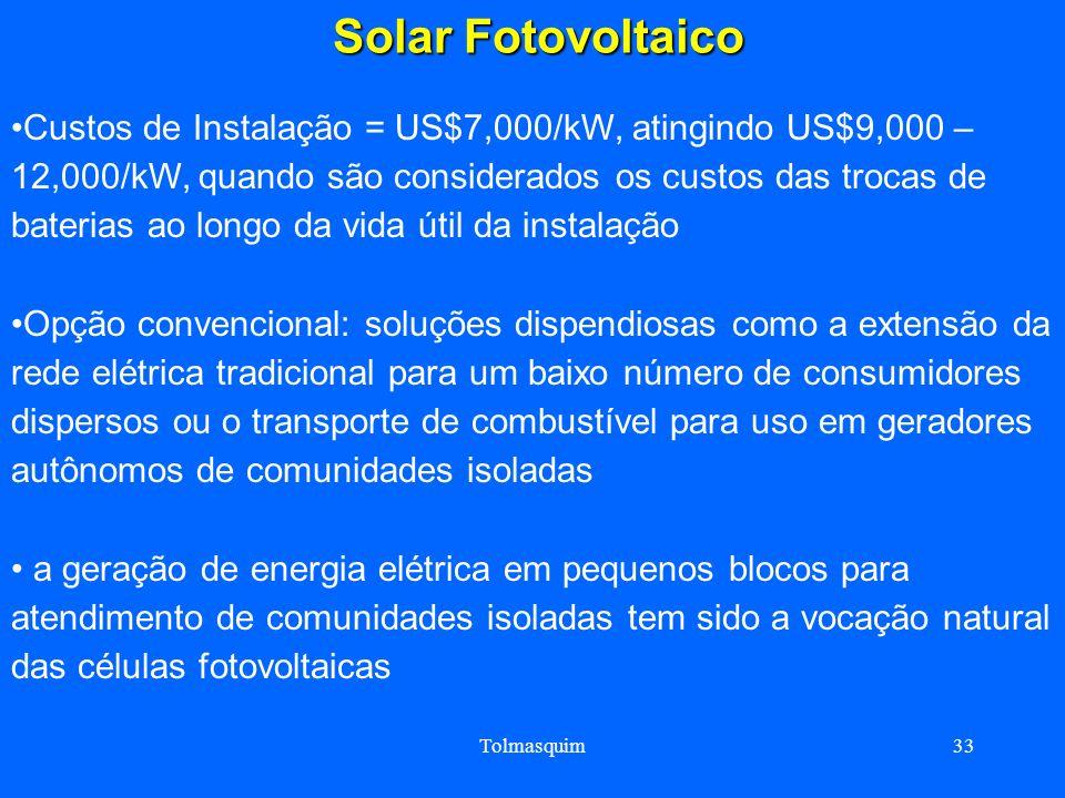 Tolmasquim33 Solar Fotovoltaico Solar Fotovoltaico Custos de Instalação = US$7,000/kW, atingindo US$9,000 – 12,000/kW, quando são considerados os cust