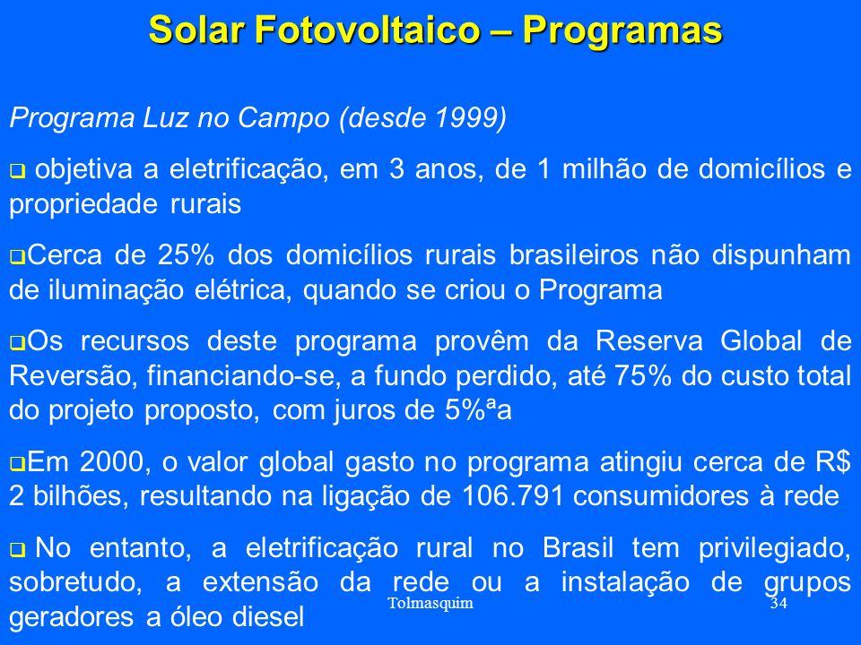 Tolmasquim34 Solar Fotovoltaico – Programas Solar Fotovoltaico – Programas Programa Luz no Campo (desde 1999) objetiva a eletrificação, em 3 anos, de