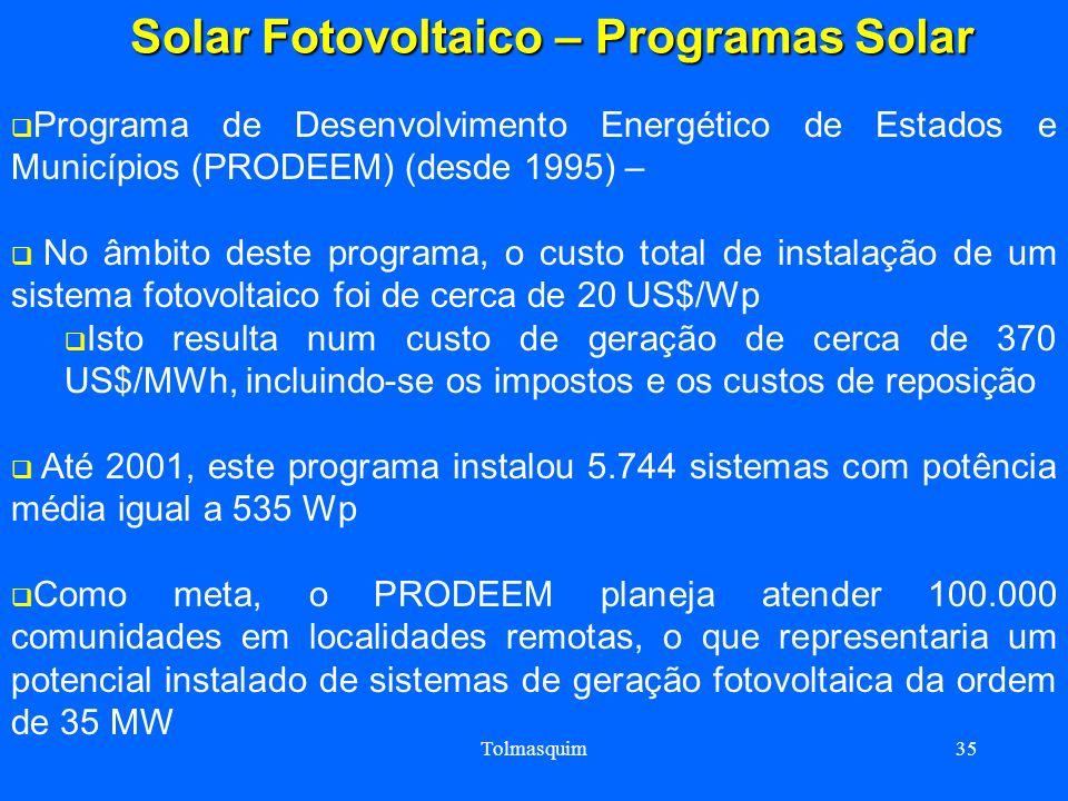 Tolmasquim35 Solar Fotovoltaico – Programas Solar Solar Fotovoltaico – Programas Solar Programa de Desenvolvimento Energético de Estados e Municípios