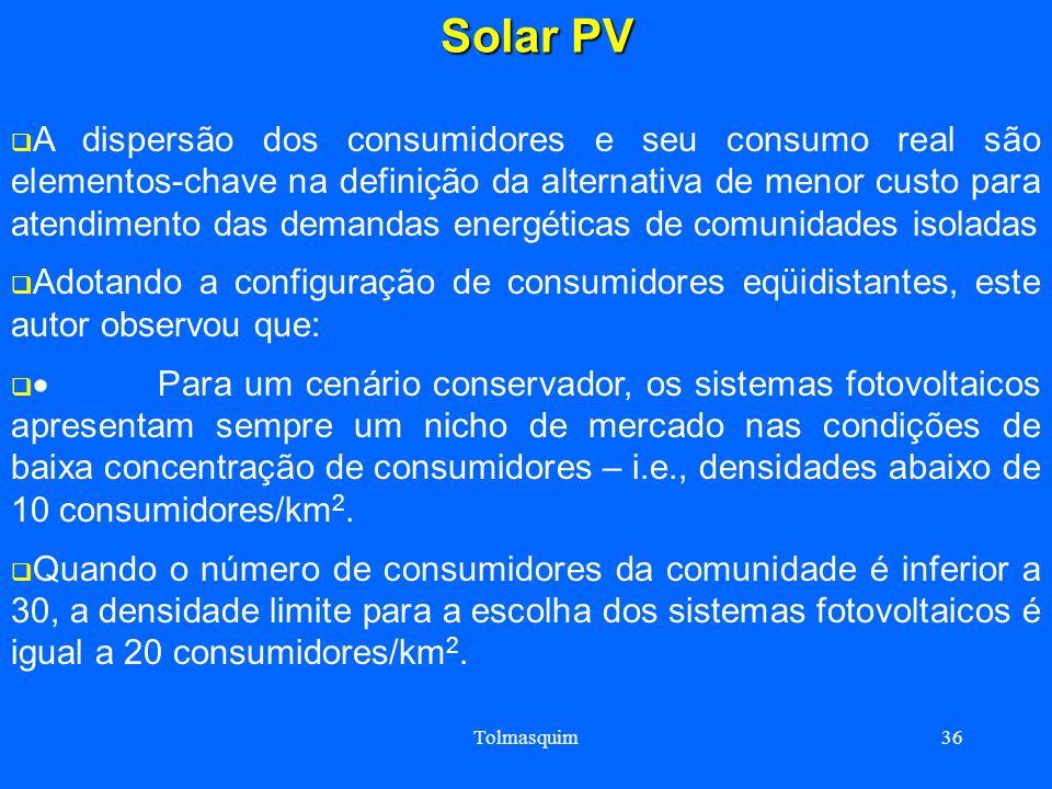 Tolmasquim36 Solar PV Solar PV A dispersão dos consumidores e seu consumo real são elementos-chave na definição da alternativa de menor custo para ate