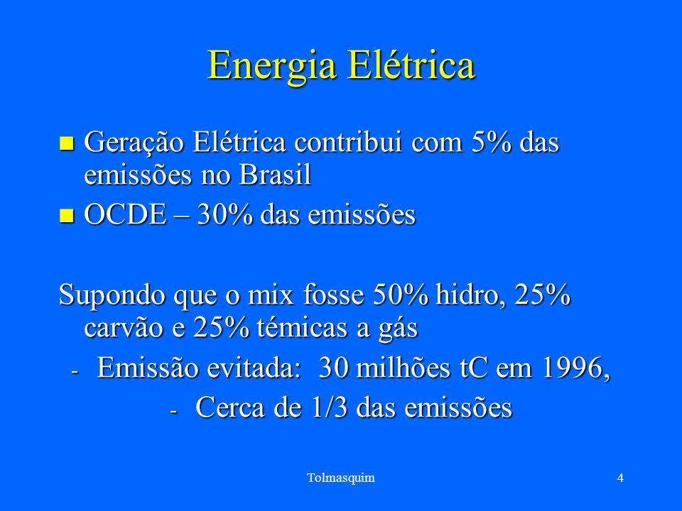 Tolmasquim4 Energia Elétrica Geração Elétrica contribui com 5% das emissões no Brasil Geração Elétrica contribui com 5% das emissões no Brasil OCDE –