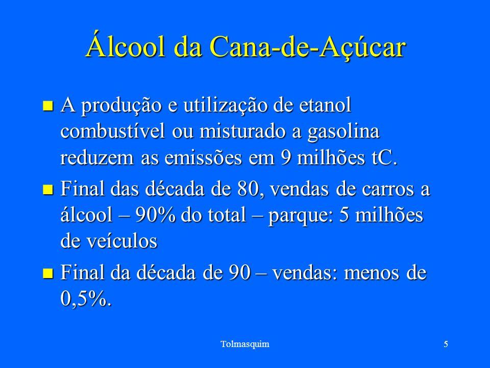 Tolmasquim5 Álcool da Cana-de-Açúcar A produção e utilização de etanol combustível ou misturado a gasolina reduzem as emissões em 9 milhões tC. A prod