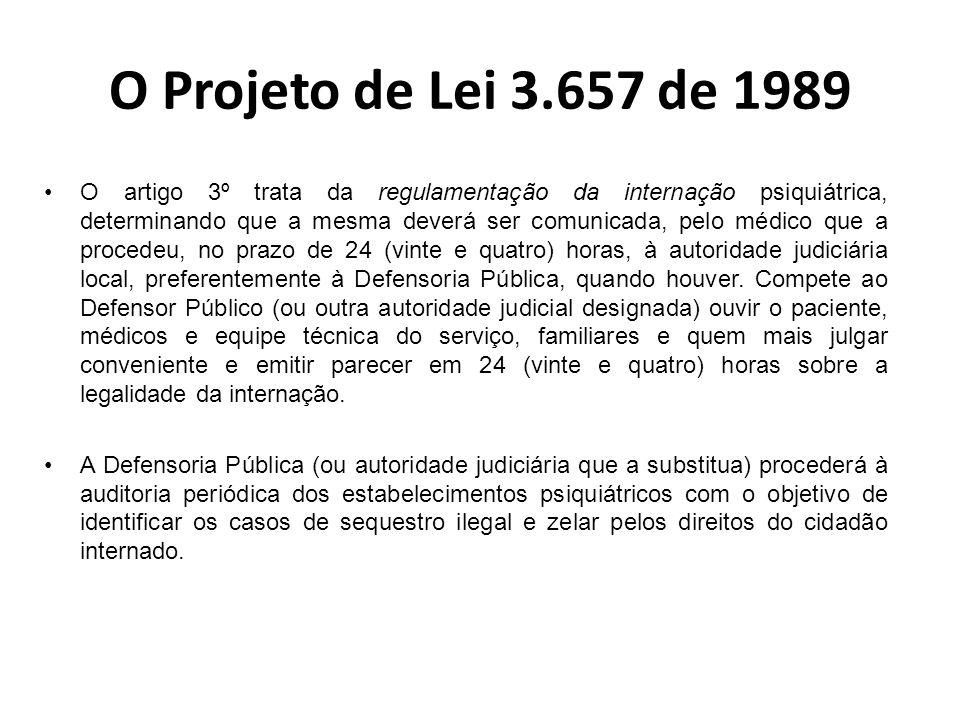 O Projeto de Lei 3.657 de 1989 Embora tenha sido formado num momento em que havia condições propícias para a transformação do modelo psiquiátrico, o PL enfrentou várias dificuldades no percurso para a sua aprovação.