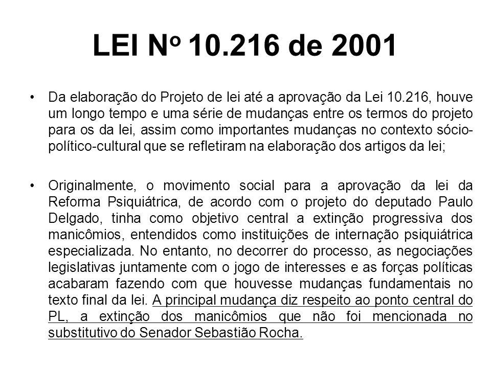 LEI N o 10.216 de 2001 A Lei 10.216 de 06 de abril de 2001 dispõe sobre a proteção e os direitos das pessoas portadoras de transtornos mentais e redireciona o modelo assistencial em saúde mental.