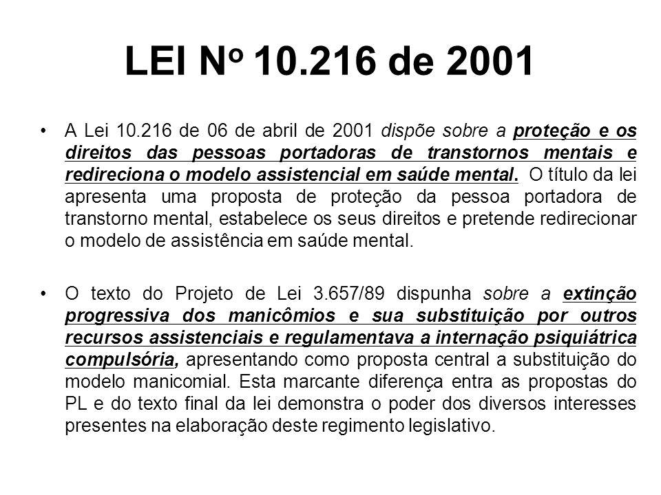 LEI N o 10.216 de 2001 A nova lei federal possui dois grandes eixos: –a questão da proteção; –o redirecionamento do modelo assistencial.