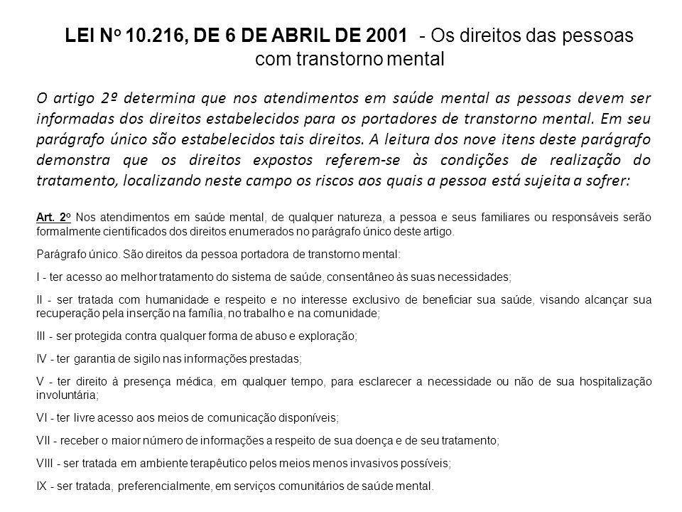 LEI N o 10.216, DE 6 DE ABRIL DE 2001 - A responsabilidade do Estado O artigo 3º trata da responsabilidade do Estado no desenvolvimento da política de saúde mental, na assistência e na promoção de ações.