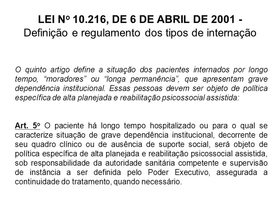 LEI N o 10.216, DE 6 DE ABRIL DE 2001 - Definição e regulamento dos tipos de internação O artigo 6º define que o laudo médico é o instrumento que possibilita a internação, caracterizando esta como um ato médico.