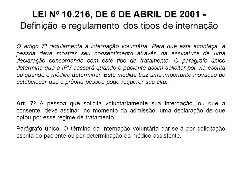LEI N o 10.216, DE 6 DE ABRIL DE 2001 - Definição e regulamento dos tipos de internação O artigo 8º determina que as internações voluntárias e involuntárias somente serão autorizadas por médicos registrados no CRM do estado do estabelecimento.