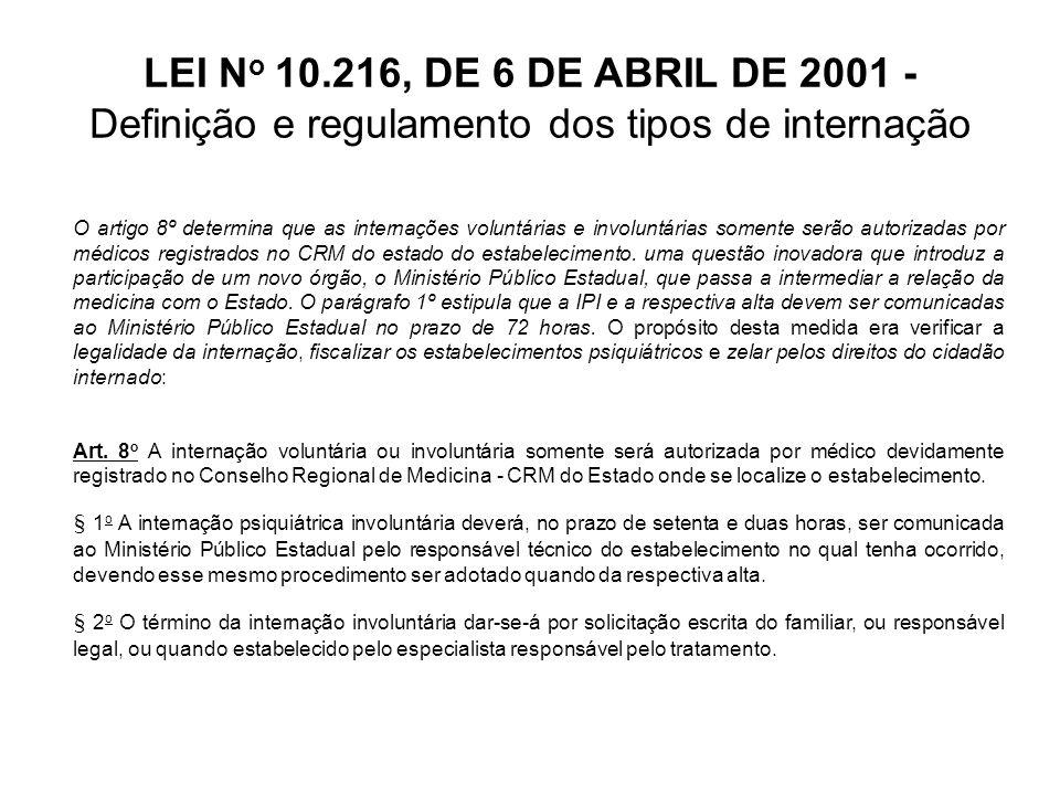 LEI N o 10.216, DE 6 DE ABRIL DE 2001 - Definição e regulamento dos tipos de internação O artigo 9° estabelece competência apenas ao juiz a determinação da internação compulsória.