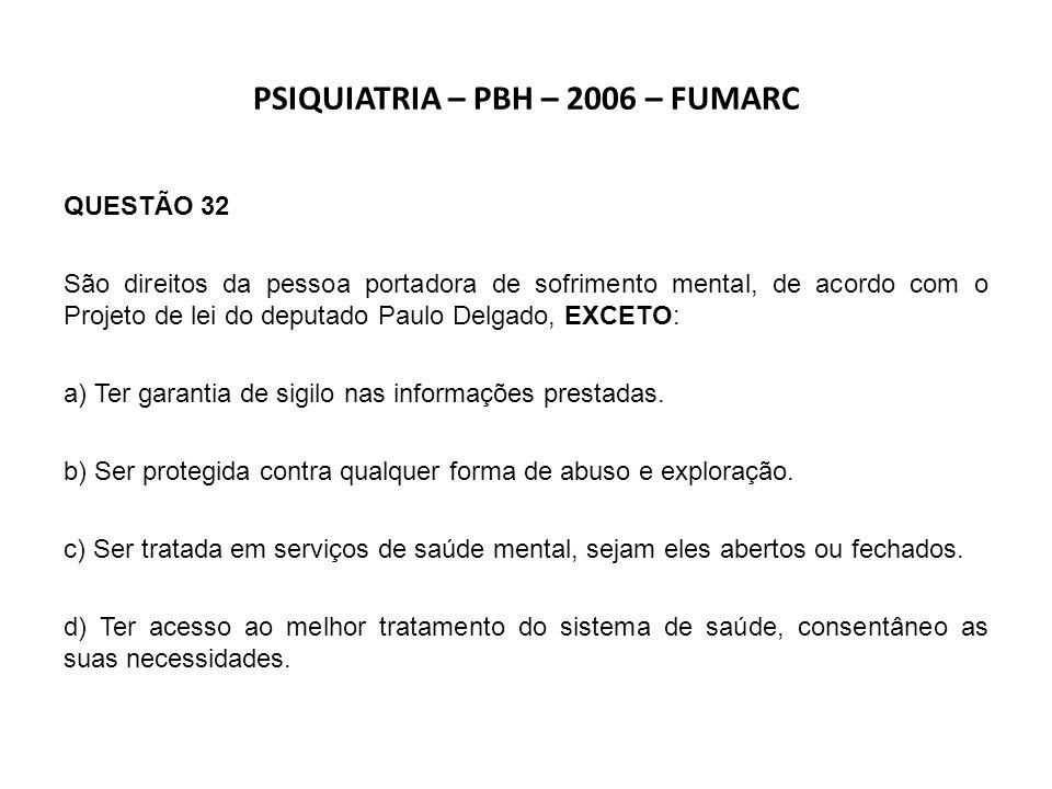 SERVIÇO SOCIAL – BETIM – 2007 – FUMARC QUESTÃO 46 Segundo o texto da Lei n°10.216, de 06 de abril de 2001, art.6°, parágrafo único, os tipos de internações psiquiátricas são: a) Consentida, prescrita e judicial.