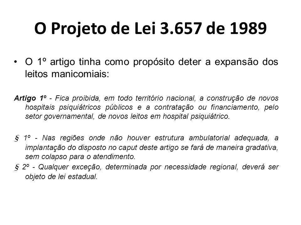 O Projeto de Lei 3.657 de 1989 O artigo 2º tratava da nova rede em saúde mental e fornece os instrumentos para a consolidação dos novos recursos assistenciais.