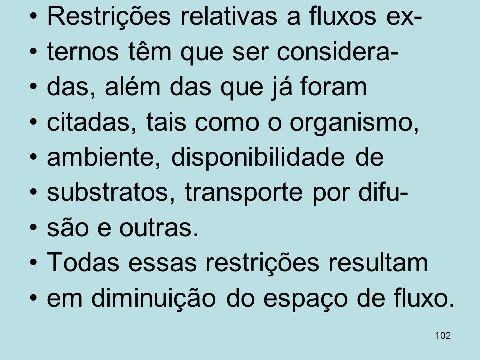102 Restrições relativas a fluxos ex- ternos têm que ser considera- das, além das que já foram citadas, tais como o organismo, ambiente, disponibilida