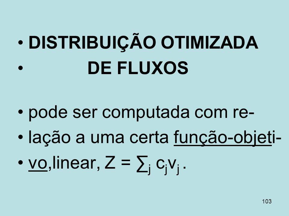 103 DISTRIBUIÇÃO OTIMIZADA DE FLUXOS pode ser computada com re- lação a uma certa função-objeti- vo,linear, Z = j c j v j.