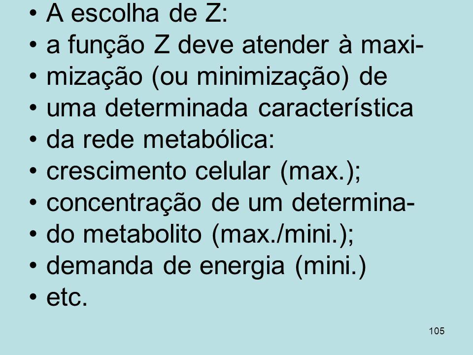 105 A escolha de Z: a função Z deve atender à maxi- mização (ou minimização) de uma determinada característica da rede metabólica: crescimento celular