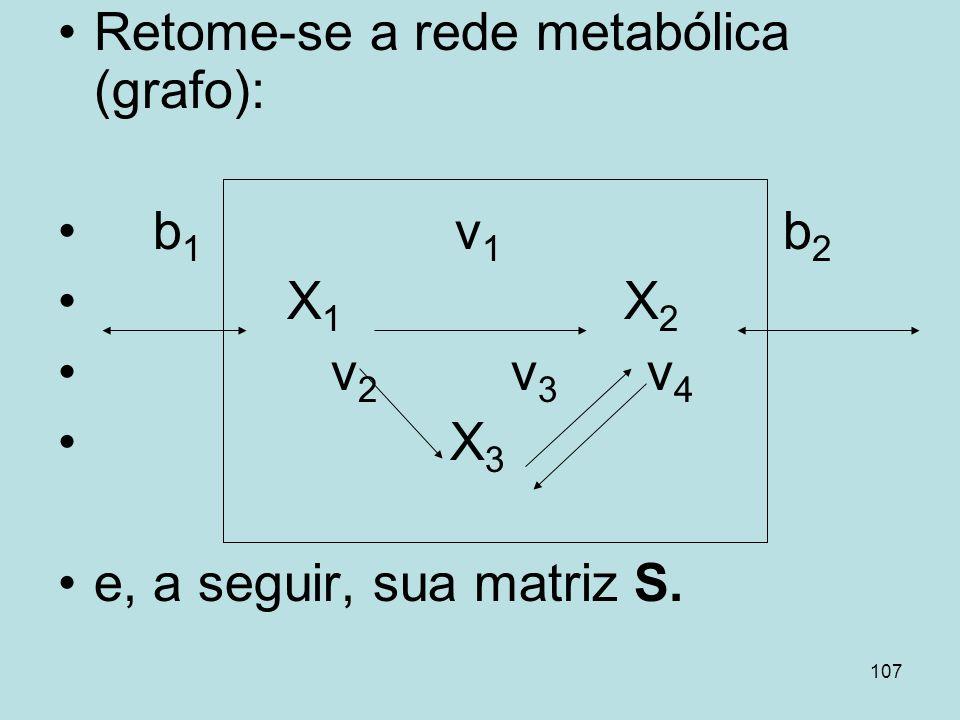 107 Retome-se a rede metabólica (grafo): b 1 v 1 b 2 X 1 X 2 v 2 v 3 v 4 X 3 e, a seguir, sua matriz S.