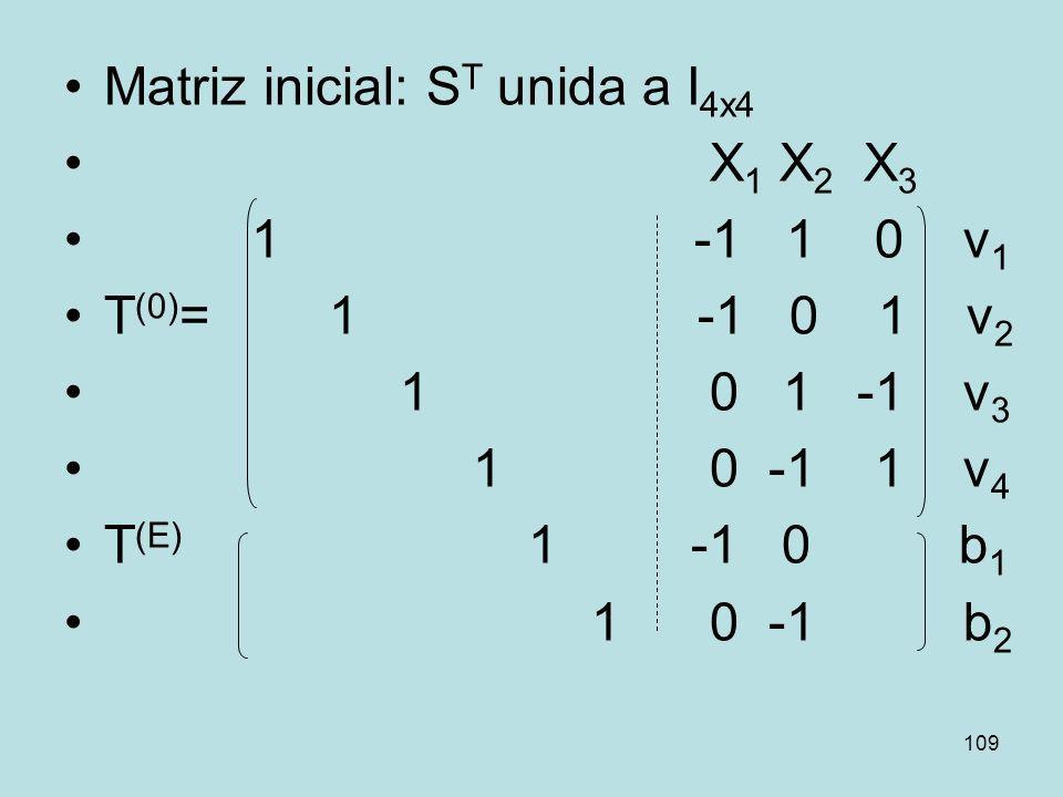 109 Matriz inicial: S T unida a I 4x4 X 1 X 2 X 3 1 -1 1 0 v 1 T (0) = 1 -1 0 1 v 2 1 0 1 -1 v 3 1 0 -1 1 v 4 T (E) 1 -1 0 b 1 1 0 -1 b 2