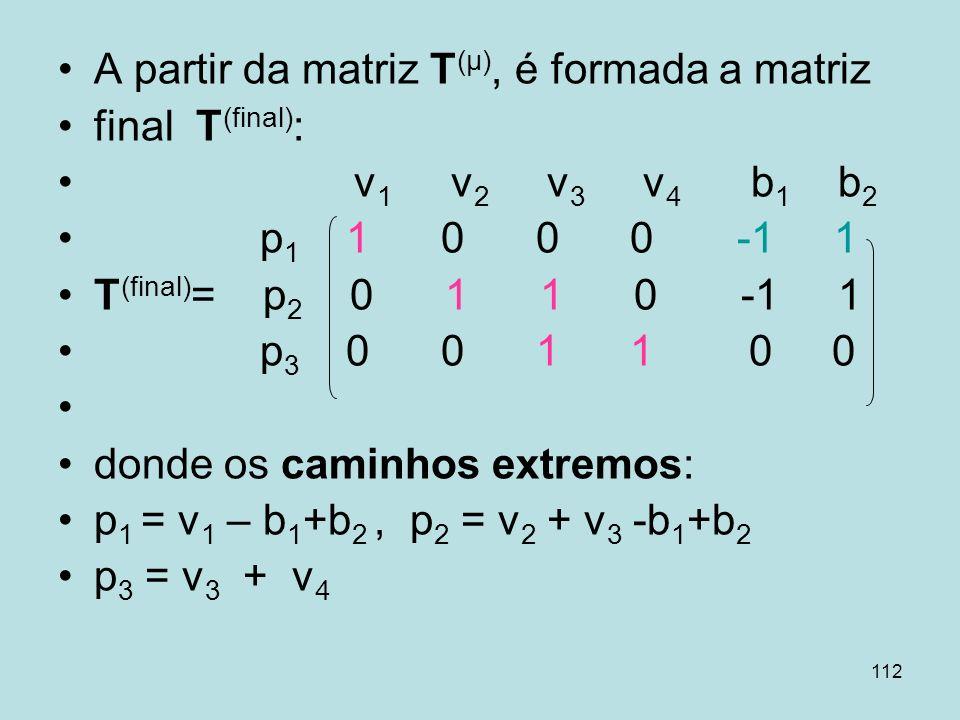 112 A partir da matriz T (μ), é formada a matriz final T (final) : v 1 v 2 v 3 v 4 b 1 b 2 p 1 1 0 0 0 -1 1 T (final) = p 2 0 1 1 0 -1 1 p 3 0 0 1 1 0