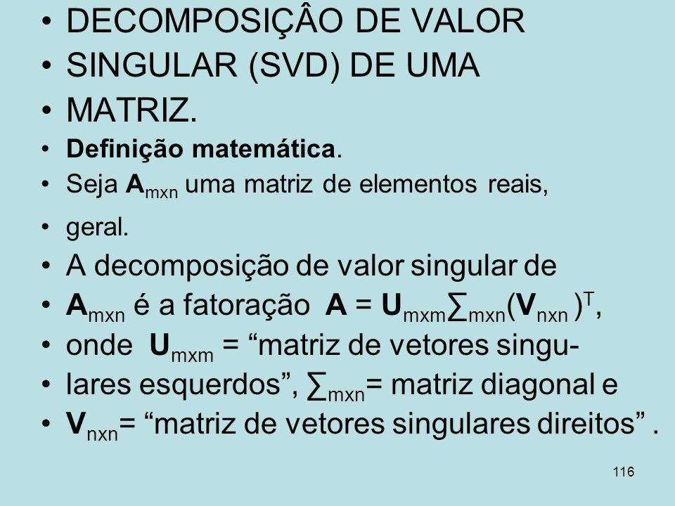 116 DECOMPOSIÇÂO DE VALOR SINGULAR (SVD) DE UMA MATRIZ. Definição matemática. Seja A mxn uma matriz de elementos reais, geral. A decomposição de valor