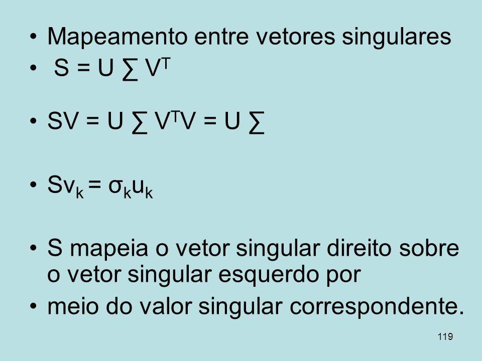 119 Mapeamento entre vetores singulares S = U V T SV = U V T V = U Sv k = σ k u k S mapeia o vetor singular direito sobre o vetor singular esquerdo po
