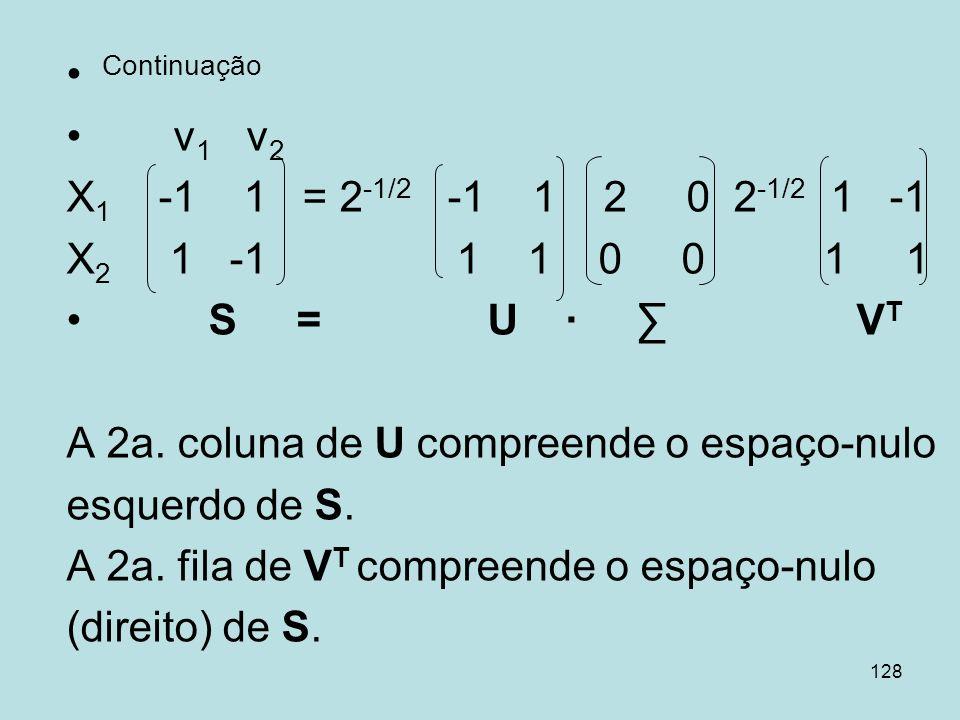 128 Continuação v 1 v 2 X 1 -1 1 = 2 -1/2 -1 1 2 0 2 -1/2 1 -1 X 2 1 -1 1 1 0 0 1 1 S = U V T A 2a. coluna de U compreende o espaço-nulo esquerdo de S
