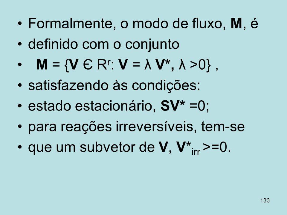133 Formalmente, o modo de fluxo, M, é definido com o conjunto M = {V Є R r : V = λ V*, λ >0}, satisfazendo às condições: estado estacionário, SV* =0;