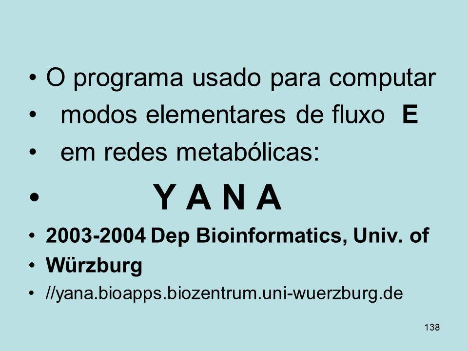 138 O programa usado para computar modos elementares de fluxo E em redes metabólicas: Y A N A 2003-2004 Dep Bioinformatics, Univ. of Würzburg //yana.b