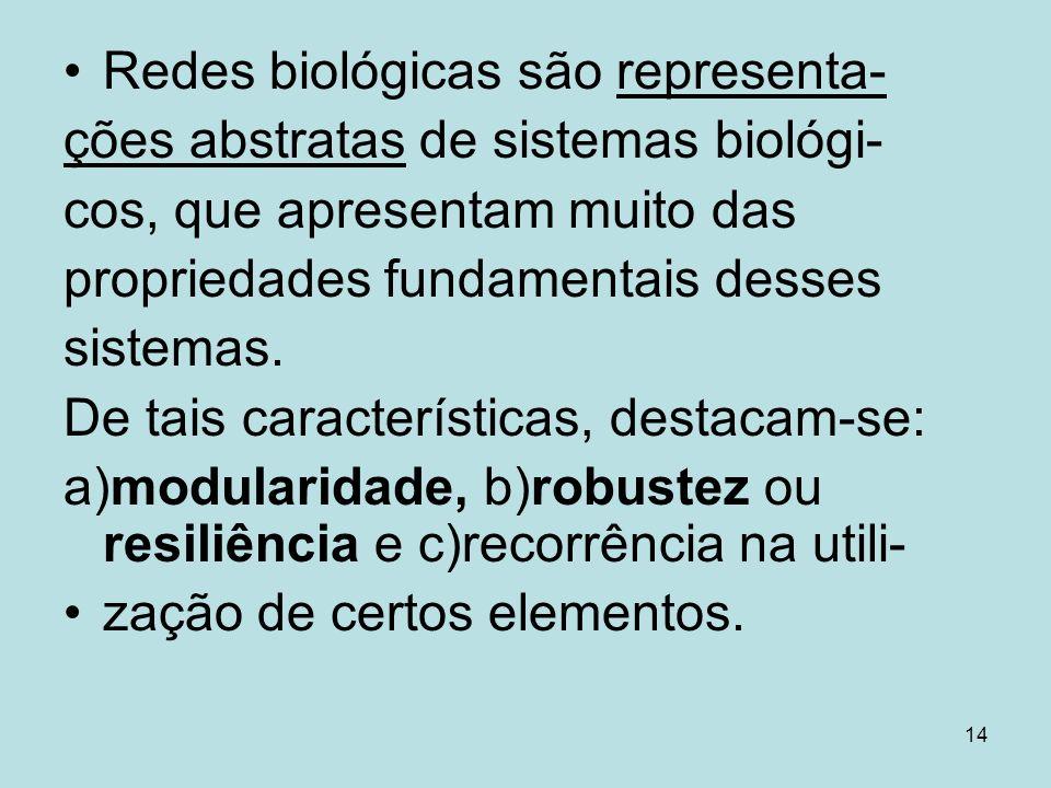 14 Redes biológicas são representa- ções abstratas de sistemas biológi- cos, que apresentam muito das propriedades fundamentais desses sistemas. De ta